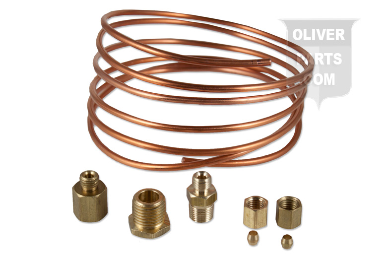 Oil Gauge Copper Line Kit. For Oliver tractors using 1/8\ X 6\' copper oil line. Kit includes: 6\'-1/8\ Copper line, (2)5/16-24 UNF Nut, (2)Compression sleeves, (1) 1/8-27 NPTF female to 5/16-24 UNF Male Adaptor.