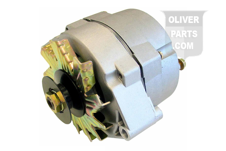 63 AMP ALTERNATOR W/ PULLEY --- 10 SQUARE INCH HOUSING SURFACE AREA --- 6 1/4 HOUSING DIAMETER, 2 1/2 PULLEY DIAMETER, 5/8 BELT WIDTH NEW, NOT REBUILT --- CONVERTS 6V TO 12V --- SIMPLE 1-WIRE ALTERNATOR HOOK UP: RUN A WIRE FROM ALTERNATOR THROUGH AMP GAUGE TO POSITIVE SIDE ---