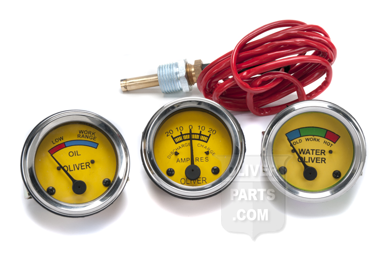 Oliver Super 44, Super 55, 66, Super 66, 77, Super 77, 88, Super 88, 440, 660.  These gauges feature  a 6 volt light inside of them, so you can see clearly on those early mornings! The temperature gauge has a 70 capillary lead.