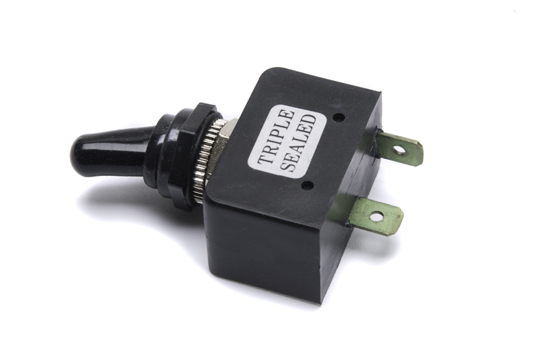 On- off switch  Triple sealed.  Completely water proof.  Even the toggle has a rubber flexible water proof cover.  Perfect for a tractor that has to be kept out in the weather.   Very heavy duty.  12 Volt 20 amps with two poles. On - off.  6 volt 30 amp.