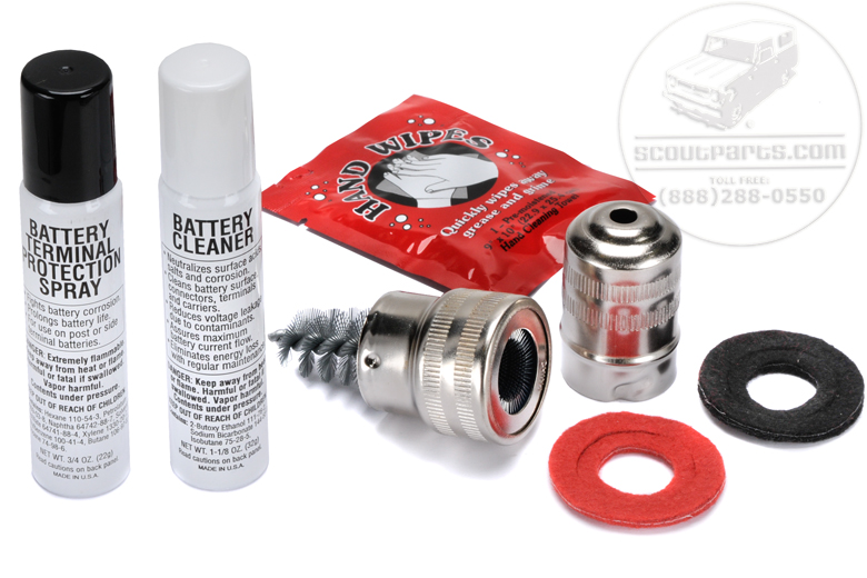Needed on all Oliver tractors.  Kit Includes:  Cleaner Spray Protection Spray Red and Black Anti Corrosion Washers Hand Cleaner Directions Terminal Brush