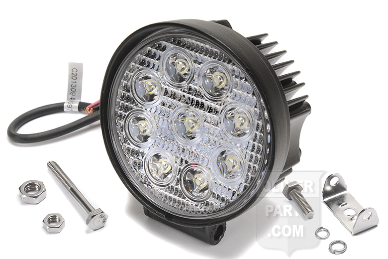 These 12v spotlights are great for running a farm tractor at night without the large power draw of a traditional light. We like to mount one spot and one flood to get the best of both worlds. These units have a heavy metal housing and 9 high power LED flood lamps.  Type: LED, Spot Beam Body Material: Aluminum Lens: Polycarbonate Dimensions: 4.25 Diameter Lumens: 1400 Watts: 27 Amps: 2.2