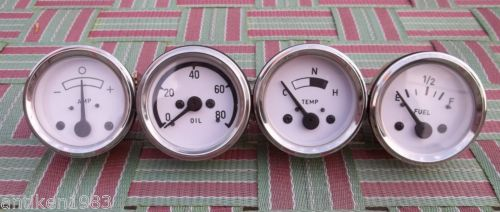 Oliver -  1750,1800, 1850,1855,1950,1955,2050,2150 (Early Models) This Set comes with the following Gauges 1) Temperature Gauge (Electrical) 2) Oil Pressure Gauge (0-80 psi, 1/8 NPT Male Thread)  3) Fuel Gauge 4) Ampere Meter