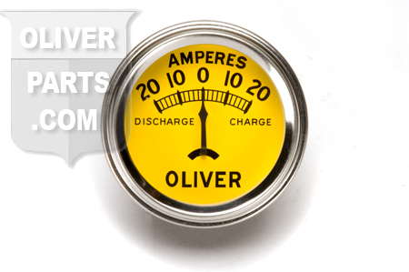 Gauge, ammeter has 20-0-20 range. \ORIGINAL\ style with \OLIVER\ logo. Fits 2\ dia hole. Tractors: Super 44, Super 55, 66, 77, Super 77, 88, Super 88, 440, 660.