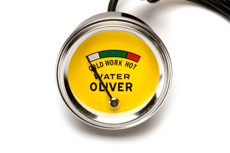 Gauge, water temperature, \ORIGINAL\ style with \OLIVER\ logo. Fits 2\ dia hole with 52\ capillary line. Tractors: Oliver Super 44, Super 55, 66, Super 66, 77, Super 77, 88, Super 88, 440, 660.