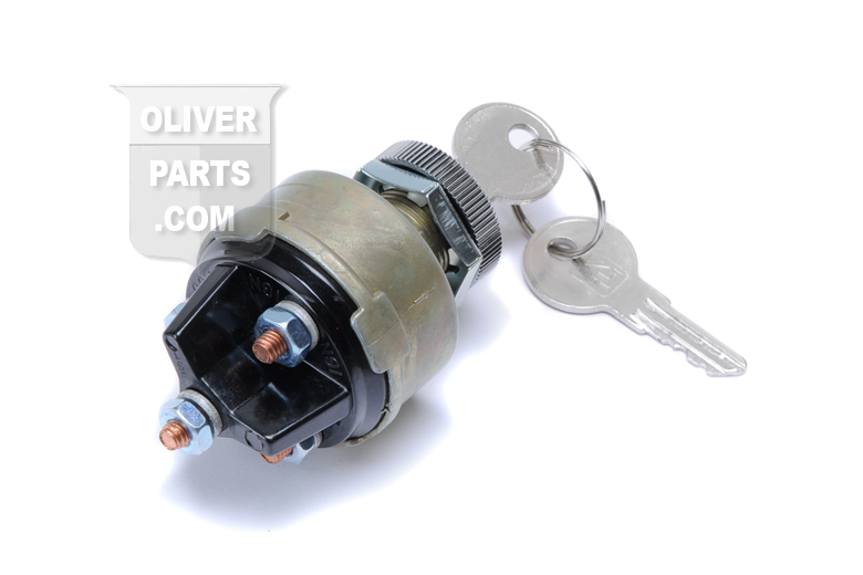 Universal 4 position ignition starter switch. 3/4 Dia thread, 4 terminals, Includes 2 keys.  fits Oliver 1265, 1365, 1465, 1250, 1450, 1255, 1355