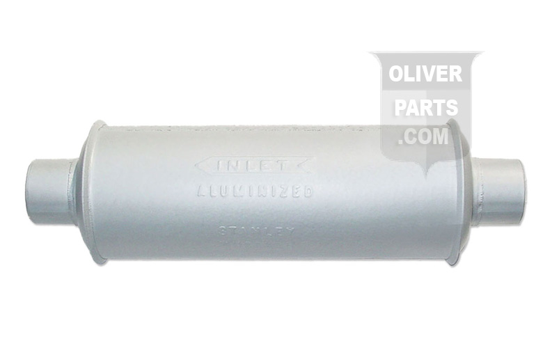 Muffler Fit Oliver 70 Except Hart-Parr Replaces Oliver PN#:B-452. Horizontal Round Body. Inlet Length: 1-1/2\, Inlet I.D.: 1-15/16\, Shell Length: 12\, Shell Diameter:4-1/4\, Outlet Length: 1-1/2\, Outlet O.D.:2-1/16\, Overall Length: 15-3/8\.