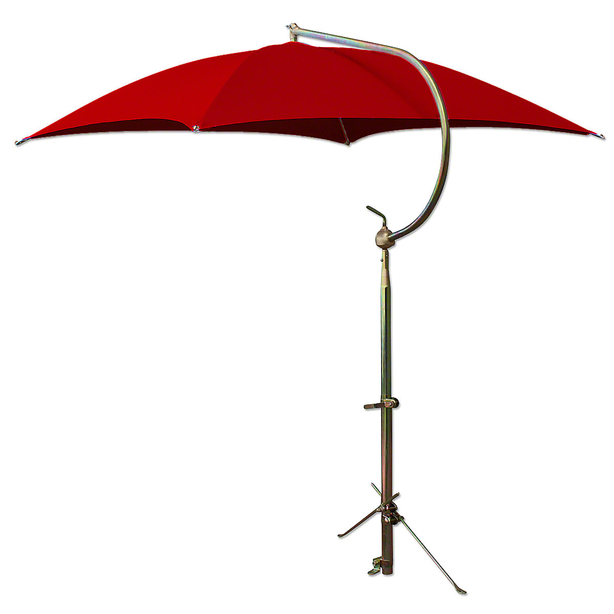 Deluxe Red Tractor Umbrella With Brackets. Four oil-tempered spring steel bows are locked into place with individual spring clips, providing ease of operation and a rigid framework for the cover. Frame constructed of tubular steel. All metal parts, including frame and mounting brackets, zinc plated for rust resistance and lasting appearance. 54 square cover is made of durable polyester material. Each corner is double reinforced and has heavy steel grommets. Complete with universal mounting bracket. NOTE: Can be mounted on side of fender, rear end / axle housing, foot platform. Fits tractors, combines, swathers and Industrial equipment.