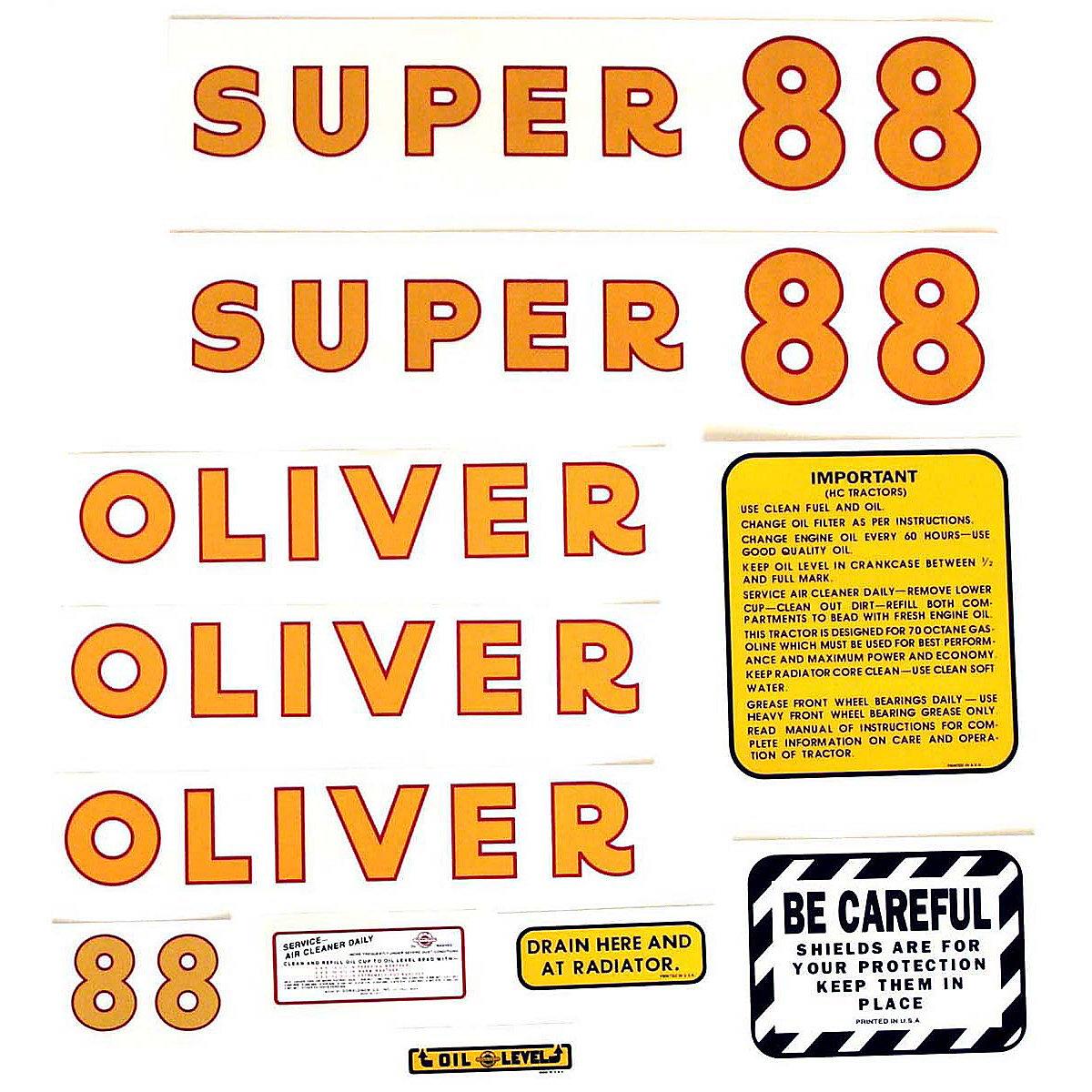 Mylar Decal Set For Oliver Super 88.