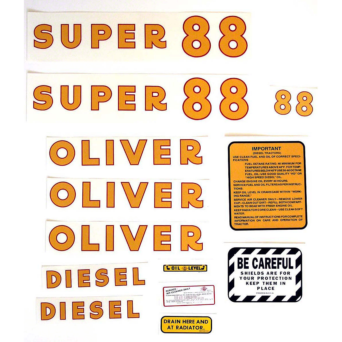 Mylar Decal Set For Oliver Super 88 Diesel.
