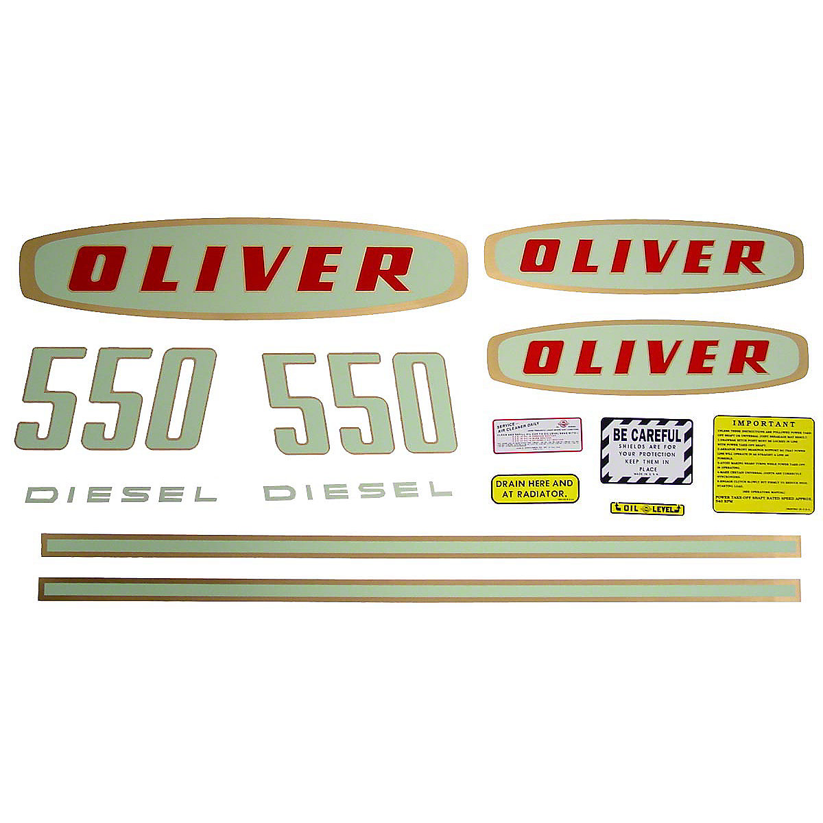 Mylar Decal Set For Oliver 550 Diesel. Early Models up to SN#:112109