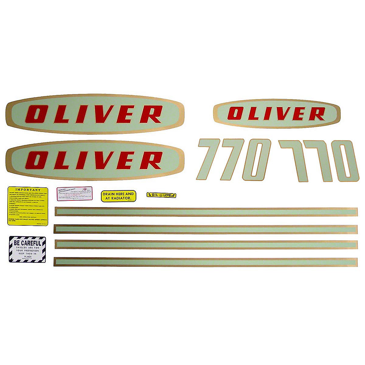 Decal Set For Oliver 770 Gas Tractors.