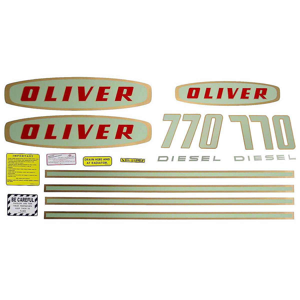 Mylar Decal Set For Oliver 770 Diesel Tractors. Up to SN#: 112250.