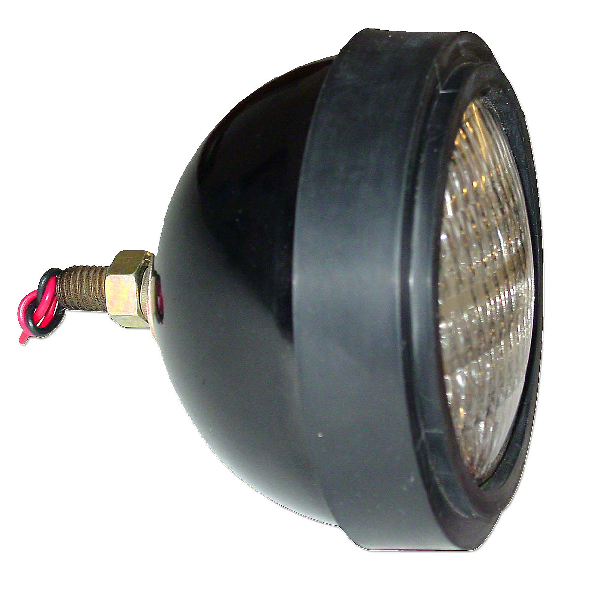 12 VOLT SEALED BEAM HEADLIGHT ASSEMBLY --- Oliver Applications: OLIVER MODELS 770 & UP --- INCLUDES SEALED BEAM BULB #4411 & RUBBER TRIM RING --- FOR FLAT TOP FENDERS --- NOTE: POST IS OUT OF BACK WITH WIRES THRU POST