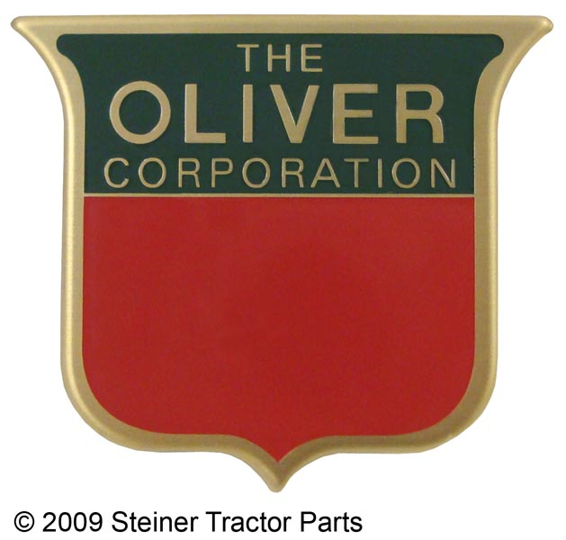 Front Emblem For the following models: Oliver Super 44, Super 55, Super 66, Super 77, Super 88, Super 99 (1950-1959)  Brass, 2 color emblem (2-3/16 inch Wide x 2 inch High)  Replaces: 1M523