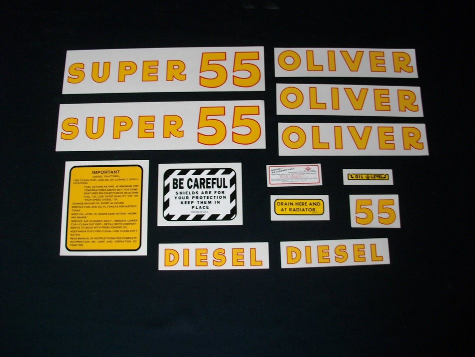 Fits: Super 55 (Diesel) Caution: Inspect all decal pieces before applying to the tractor. We cannot offer a refund on mylar decals if they have been applied and/or if they are damaged. Store these tractor decals in a cool, dry place. Do not soak these mylar tractor decals in water. Detailed application instructions are included with each decal set. Please follow the appropriate instructions for your tractor decal set.