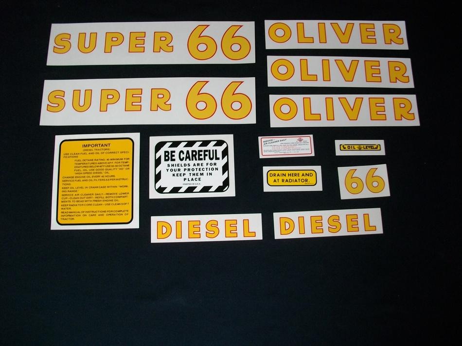 Oliver Super 66 Diesel: Mylar Decal Set