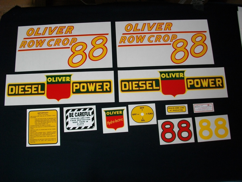 Oliver 88 Rowcrop Diesel: Mylar Decal Set