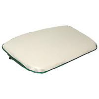 Seat Bottom Cushion - White Vinyl Pad with Green Trim