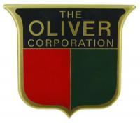 Front emblem, 3 color. Brass front, 2-3/16\ x 2\. Tractors: Oliver: 66, 77, 88 (1949-1950).