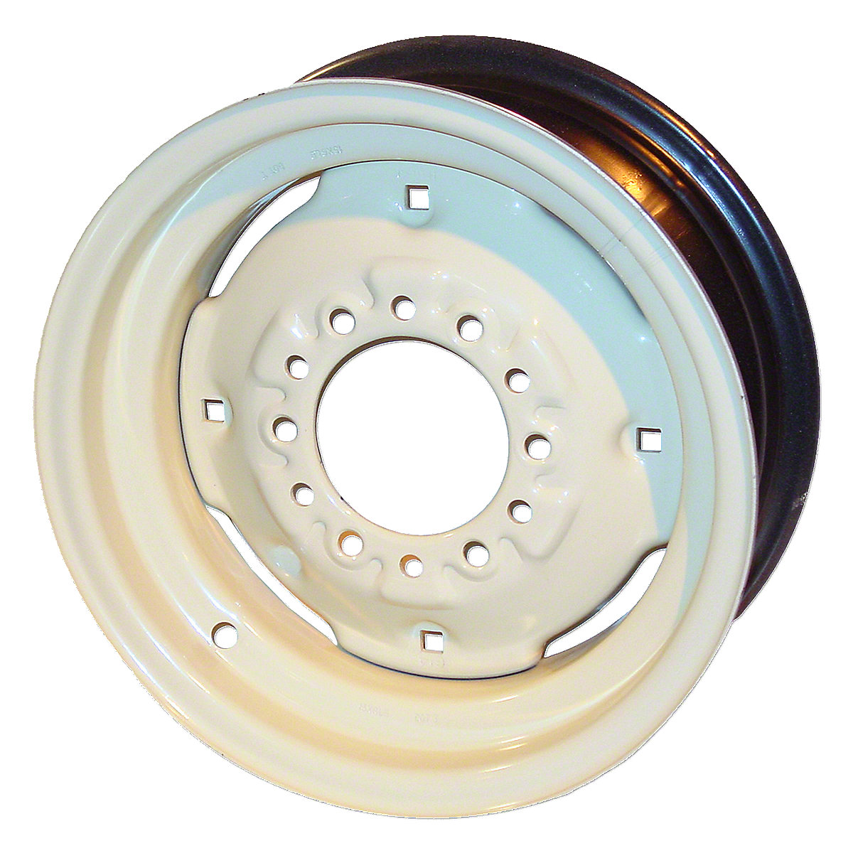 6X15 6 Lug Front Wheel For Oliver: 1655, 1750, 1755, 1800, 1850, 1855. 4.625 Pilot Hole, 4-3/4 Back Spacing, 4 Wheel Weight Holes.