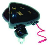 Taillight, 12-volt. Bullet-style piggy lamp painted black.-  Oliver  66, 77, 88, 660, 770, 880, 990, Super 66, Super 77, Super 88.