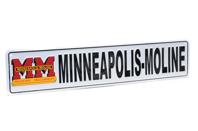 Minneapolis-Moline street sign is made out of metal, with embossed, raised lettering, just like a real street sign.