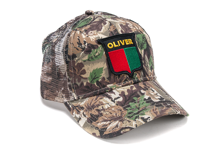 Mesh back Oliver split shield logo hat with camo print on the front.