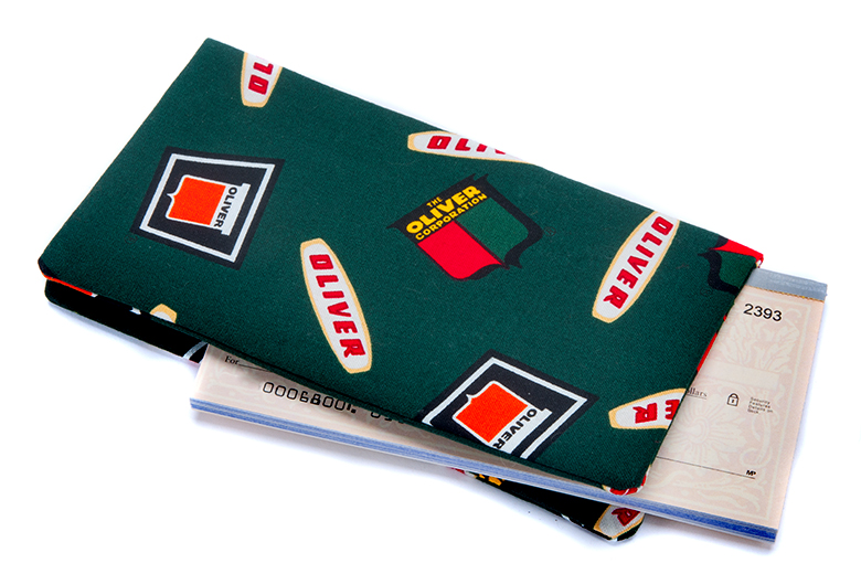 Very high quality fabric sewn with a stiffener inside to make your checkbook feel a little bit more substantial.