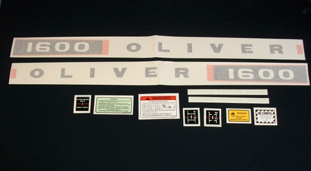 Vinyl Decal Set For Oliver 1600 Gas Tractors.