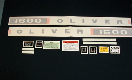 vinyl decal set for oliver 1600 diesel tractors