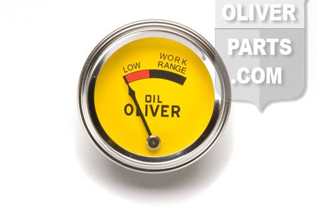Oil Pressure Gauge, Oliver Original Yellow Face.  - Oliver Super 44, Super 55, 66, Super 66, 77, Super 77, 88, Super 88, 440, 660.