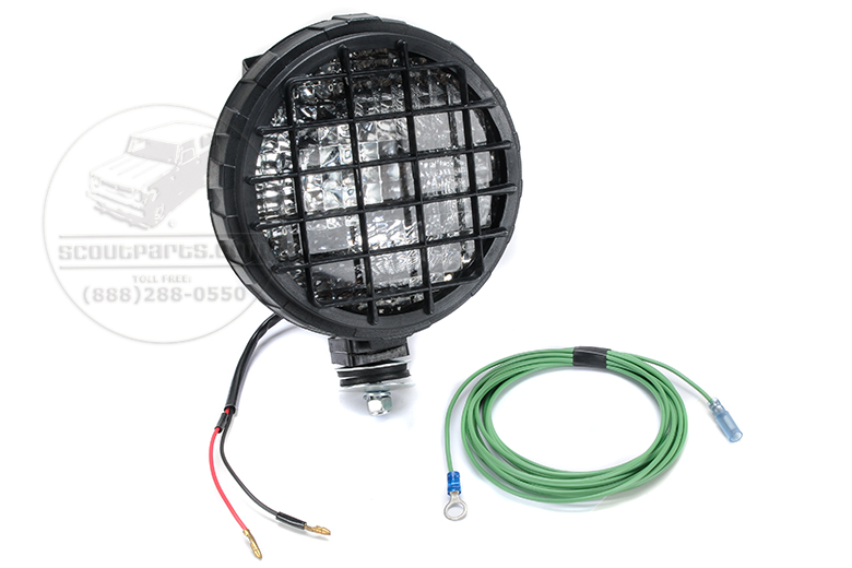 This is a 55 watt Halogen H3 Bulb.  Includes wire harness.  Positionable with handle and switch built into the back of light.  6 diameter reflector.  All mounting hardware included.  You can turn this light in any direction and it will stay there all by it's self.  Great light to mount on the back as a work light, or to mount on the front as a driving light that can be manually positioned.   Brighter than average headlight.