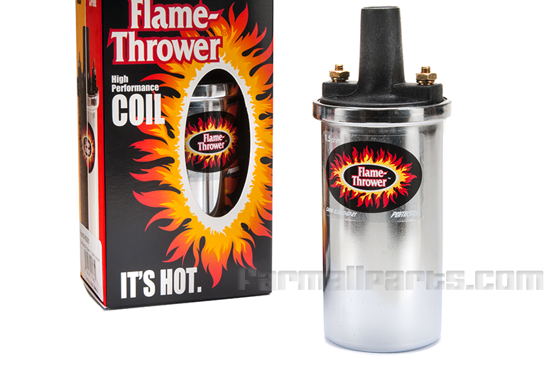 Coil, High Performance (Chrome) - 12-VOLT, Pertronix 'Flame Thrower' Chrome, high performance coil is for all 12-volt systems. Delivers up to 40, 000 volts. Oil filled for better cooling and voltage insulation. Enables larger plug gap for greater fuel efficiency and more power. Fits existing brackets.
