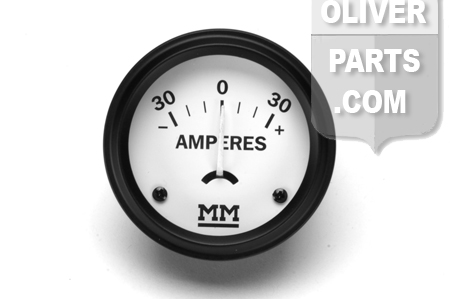 Gauge, ammeter has 30-0-30 range. \ORIGINAL\ style with \MM\ logo. Fits 2\ dia hole. Tractors: Minniapolis Moline All letter series of G, G700, R, U, ZA, ZB, ZT; All versions of models 335, 445, Big Mos (400, 500, 600), STAR, JET STAR (1938 thru 1965). Replaces BE455A, 10A8171