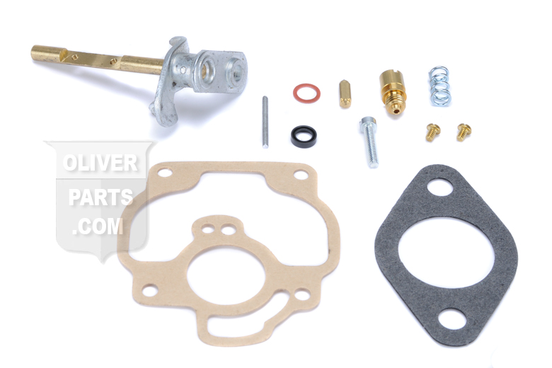 Kit to rebuild Carter style carburetors with cast iron upper bodys found on Oliver SUPER 55, 66 and SUPER 66 tractors.