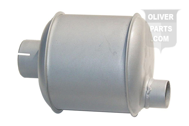 Muffler Fits Oliver: 77 & 88 Gas and Diesel Tractors. Vertical Round Body Dimensions: Inlet Length :2-1/4\, Inlet I.d.:2-3/8, Shell Length:6-1/2\, Shell Diameter 6\, Outlet Length: 1-1/4\, Outlet I.d.:1-3/4\, Overall Length:14-7/8\. Replaces Oliver Part Number: K-452