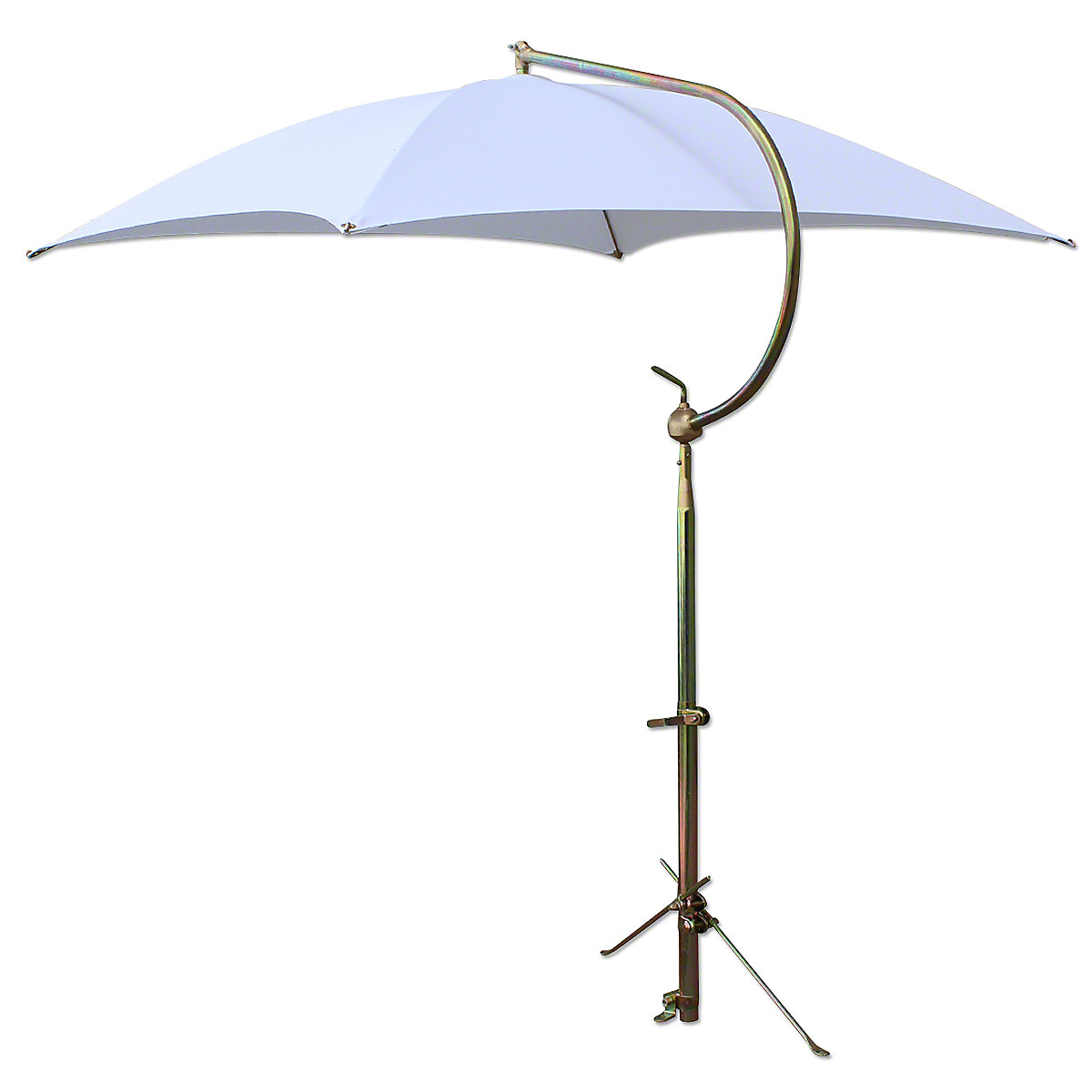 Deluxe White Tractor Umbrella With Brackets. Four oil-tempered spring steel bows are locked into place with individual spring clips, providing ease of operation and a rigid framework for the cover. Frame constructed of tubular steel. All metal parts, including frame and mounting brackets, zinc plated for rust resistance and lasting appearance. 54 square cover is made of durable polyester material. Each corner is double reinforced and has heavy steel grommets. Complete with universal mounting bracket. NOTE: Can be mounted on side of fender, rear end / axle housing, foot platform. Fits tractors, combines, swathers and Industrial equipment.