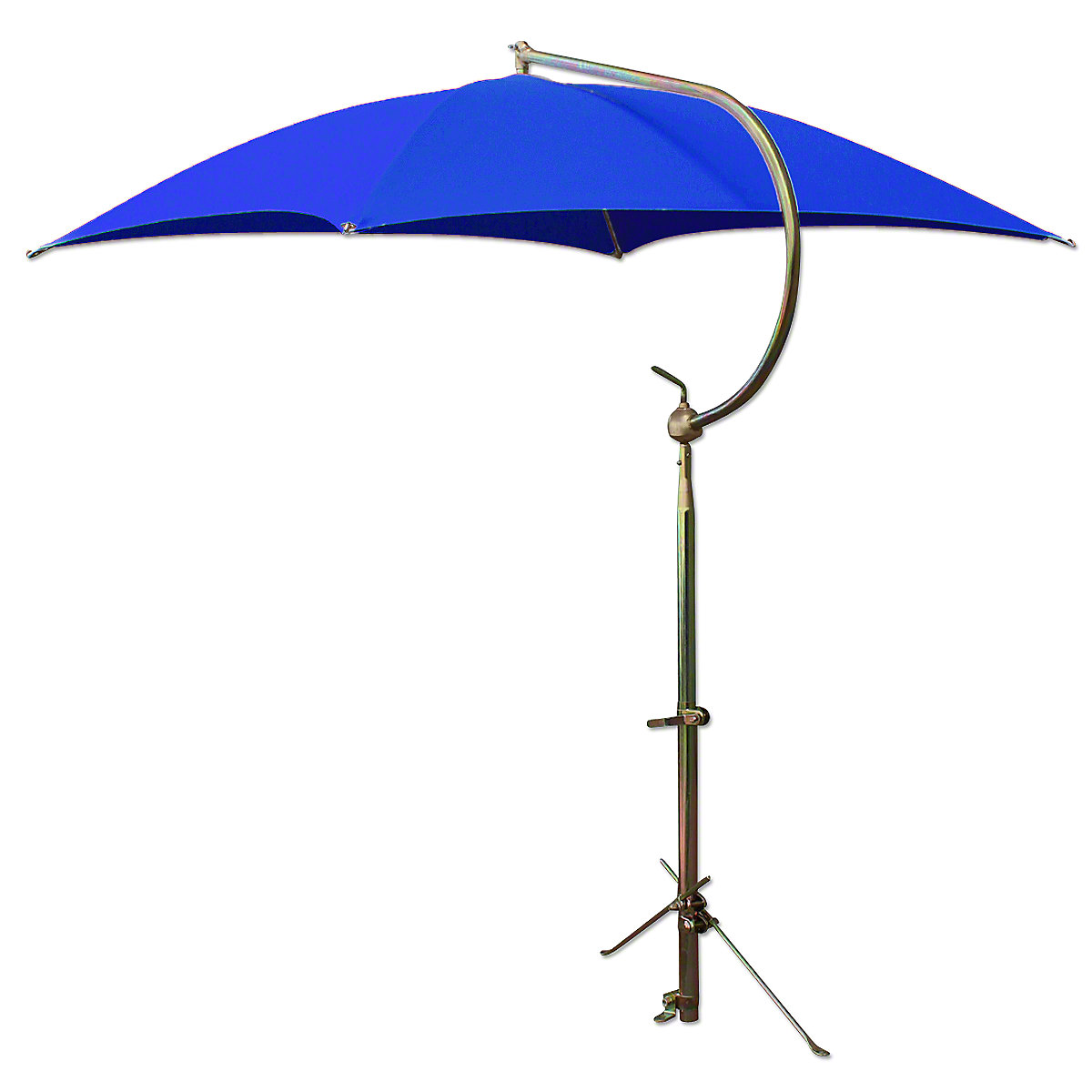 Deluxe Blue Tractor Umbrella With Brackets. Four oil-tempered spring steel bows are locked into place with individual spring clips, providing ease of operation and a rigid framework for the cover. Frame constructed of tubular steel. All metal parts, including frame and mounting brackets, zinc plated for rust resistance and lasting appearance. 54 square cover is made of durable polyester material. Each corner is double reinforced and has heavy steel grommets. Complete with universal mounting bracket. NOTE: Can be mounted on side of fender, rear end / axle housing, foot platform. Fits tractors, combines, swathers and Industrial equipment.
