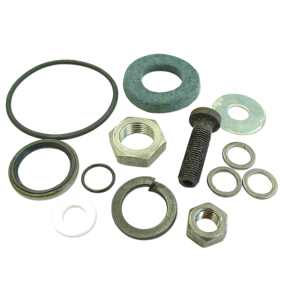 Fits: [ Super 55, 550 (with manual or power steering) ]; Replaces: Lock washer: 920089, Adjuster bolt: 1A6763A, 1A-6763-A, Shim washers (4): 1AS6822, 1AS-6822, O-ring: 1E6757A, 1E-6757-A, Flat washer: 1E6764, 1E-6764, Seal: 1E6784 , 1E-6784 , Felt: 1L6784, 1L-6784, Nut: 1L6774, 915086, 1L-6774