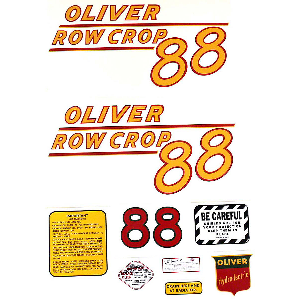 Decal Set For Oliver 88 Row Crop Tractors With Yellow Numbers.