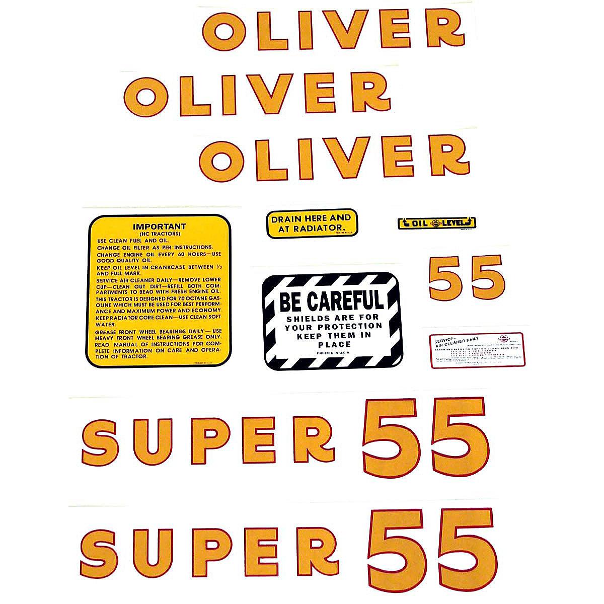 Oliver Super 55 Mylar Decal Set.