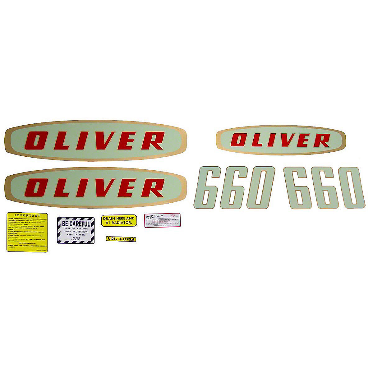 Mylar Decal Set For Oliver 660 Gas Early Model Tractors.