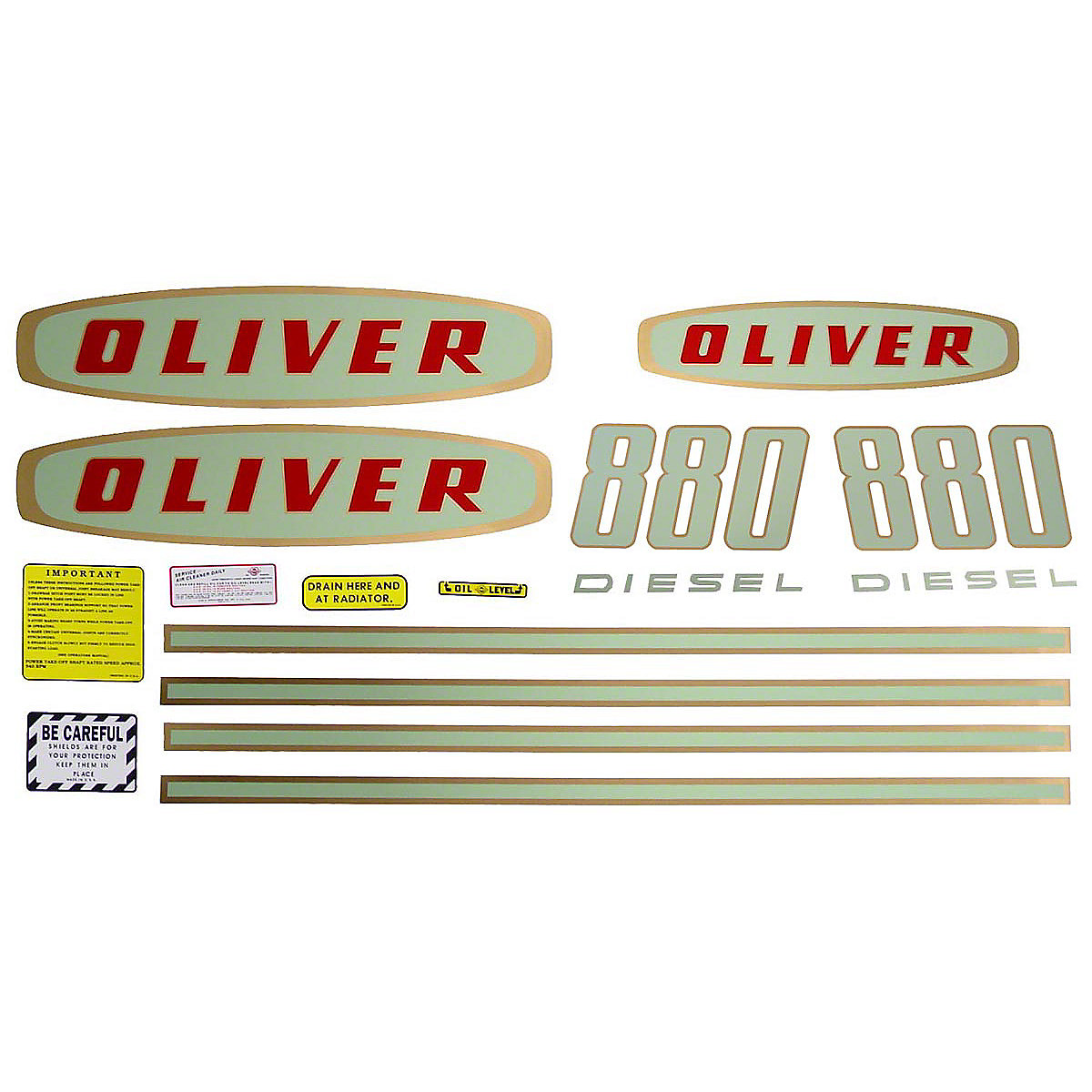 Mylar Decal Set For Oliver 880 Diesel Tractors. Up to SN#: 112250.