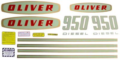 Mylar Decal Set For Early Model Oliver 950 Diesel Tractors.