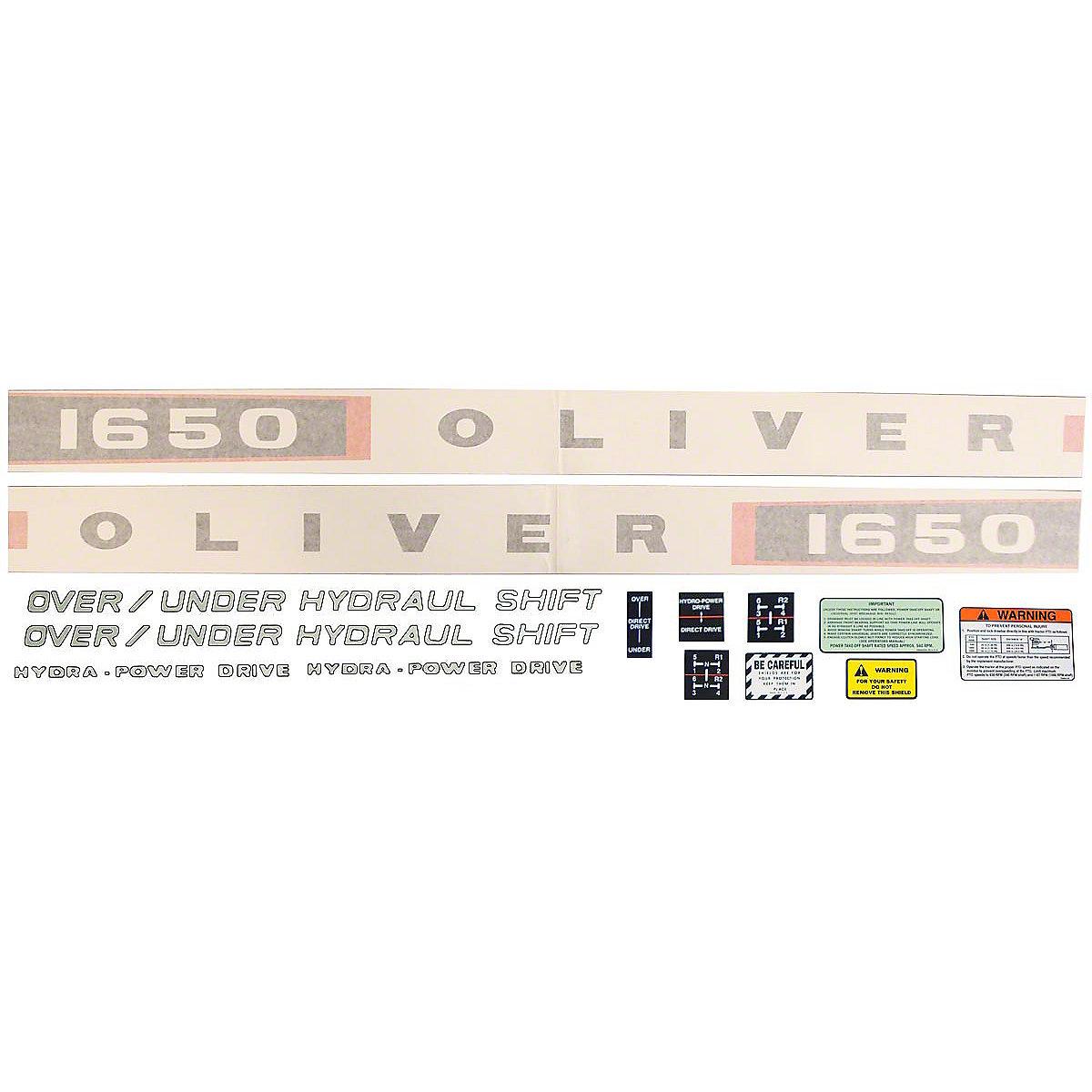 Vinyl Cut Decal Set For Oliver 1650 Tractors.