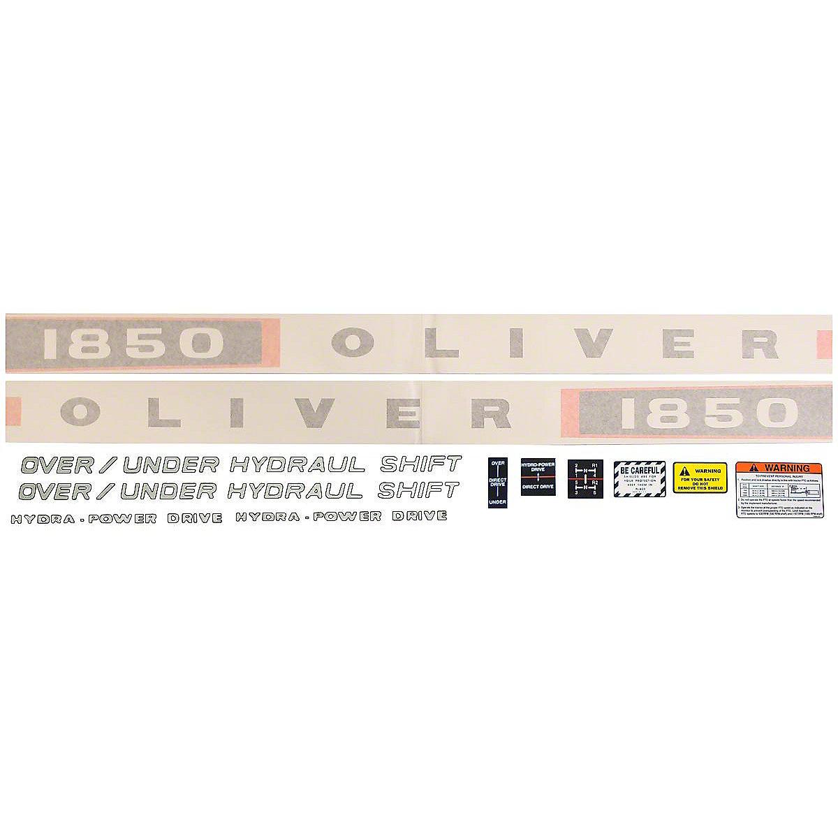 Vinyl Cut Decal Set For Oliver 1850 Gas Tractors.