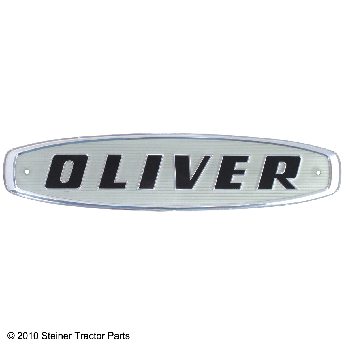 Brand new front emblem for the following models: Oliver 550, 770, 880, 950, 990 and 995 (1962 and up)  Black letters on a white background with silver trim.  Replaces: 101430A
