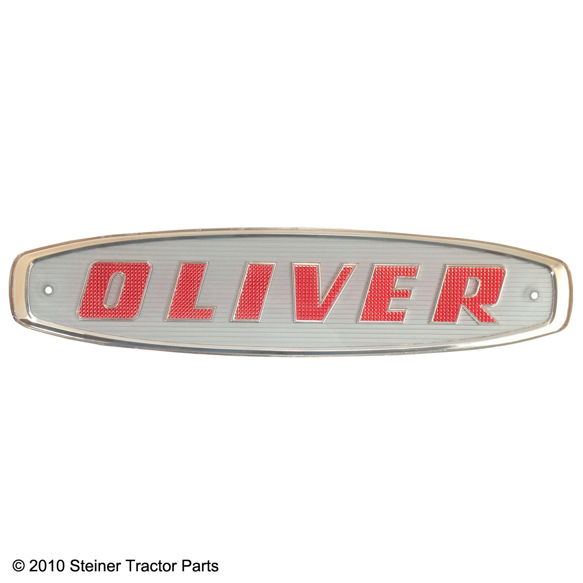 Brand new front emblem for the following models: Oliver 550, 770, 880, 950, 990 and 995 (up to 1962)  Red letters on a white background with gold trim.  Replaces: 101430A This emblem is plastic.