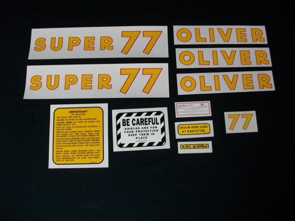 Fits: Super 77 Caution: Inspect all decal pieces before applying to the tractor. We cannot offer a refund on mylar decals if they have been applied and/or if they are damaged. Store these tractor decals in a cool, dry place. Do not soak these mylar tractor decals in water. Detailed application instructions are included with each decal set. Please follow the appropriate instructions for your tractor decal set.
